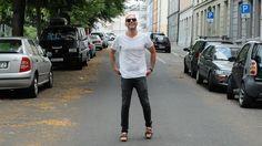 Jeans: Edwin Jeans Sandals: Camper & Bernhard Willhelm Together  T-Shirt: These Glory Days Sunglasses: Persol Belt: Tommy Hilfiger