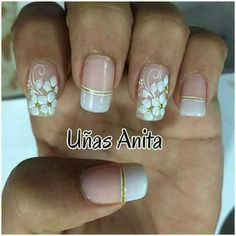 Lindas Nail Designs Spring, Toe Nail Designs, Fingernails Painted, Magic Nails, Flower Nails, Creative Nails, French Nails, Simple Nails, White Nails