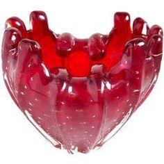 Signed Venini Murano Red Fingers Rim Italian Art Glass Sculptural Flower Vase