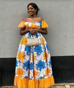 Nos Fêtes en Wax – chretienne-en-beaute Shweshwe Dresses, African Maxi Dresses, African Fashion Ankara, Ankara Gowns, Ankara Dress, African Print Fashion, Africa Fashion, African Attire, African Style