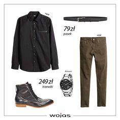 Czarna koszula świetnie współgra ze spodniami w odcieniu khaki. Trzewiki Wojas (520251) oraz pasek (30T04CZR) są modnym dopełnieniem stylizacji.