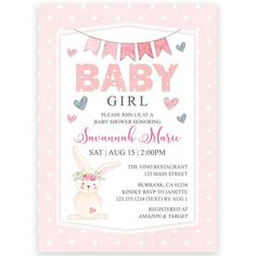 Girls Bunny Baby Shower Invitation