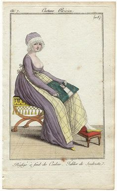 """A lady at """"work"""" making lace and wearing a plaid apron. Need to fin source! 1800s Fashion, 19th Century Fashion, Vintage Fashion, 18th Century, Regency Dress, Regency Era, Historical Costume, Historical Clothing, Jane Austen"""