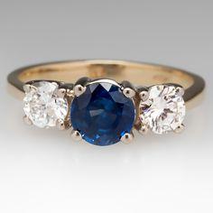 18K Three Stone Blue Sapphire & Round Brilliant Diamond Ring
