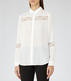 Womens Off White Lace-insert Shirt - Reiss Rosanna