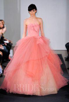 Vera Wang - Fall 2014 - Pink Strapless Silk Ball Gown Wedding Dress with Draped Skirt |