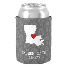 Louisiana Home State Map - Custom Wedding City Can Cooler