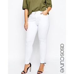 ASOS CURVE Ridley Skinny Jean in White ($37) ❤ liked on Polyvore featuring jeans, plus size, white, high waisted white skinny jeans, high waisted jeans, high waisted skinny jeans, high rise white skinny jeans and high rise skinny jeans