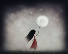 Dandelion Art, Art Prints, Cute Illustration, Starry Sky Print, Girl Art, Nursery Art, Simple Drawings, Dreamy Art, Girls Room Art, Wall Art by AimeeMarieArt on Etsy