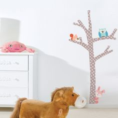 """This cool """"Tree For All"""" vinyl wall sticker will create a nature scene in your kids & Nursery rooms. This giant The Wall wall sticker features a tree & forest animals. Simply peel & Stick to get a decorative and stylish look.$84.95"""
