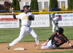 Cape's D.D. Gooch turns the first half of a double play for the Vikings. Click baseball photo to read entire sports article: Marcinizyn drives in seven runs in Vikings 8-3 win over Polytech