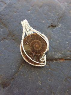 Wire Wrapped Pendant, Ammonite Pendant, Wire Wrap Ammonite, Fossil Jewelry, Wire…