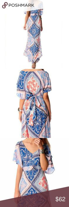 Geometric Paisley Print Flowing Maxi Dress Blue and Coral/Orange Geometric Paisley Print Flowing Maxi Dress with V-Neck, Split Dolman Sleeves, and Tie Waist Details. This is a beautiful easy, relaxed dress, that works? well for a stroll through the farmers market, or a garden party. Q2 Dresses Maxi