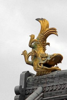 """Like most castles, two golden dolphins (kin shachi) adorn the top of Iwasaki Castle. It became coming to put these on top of castle structures in the Muromachi period (1334-1400) as it was believed that the shachi would work as a good luck charm to ward off fire. Gold (kin) shachi also were a way of showing off wealth and power.""  Text and photography by Rekishi no Tabi on Flickr"
