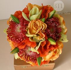 Tropical Destination Premium Flower Wedding Bouquet in Orange, Green, & Red Roses and Orchids. WV, VA, MD, DC Wedding | Event & Wedding Design & Planning | Bloomed To Last