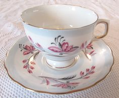 Colclough Blue Stripe and Pink Flower Tea Cup and Saucer