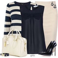 Navy Top and Heels With a Striped Cardigan, created by angkclaxton on Polyvore