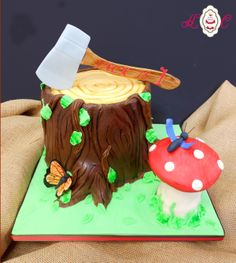 lumberjack party theme | Lumberjack Themed Tree Cake with Axe - On Site
