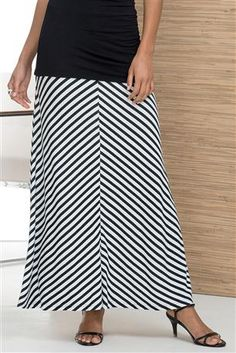 Jersey-Knit-Striped-Long-Skirt