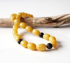 Genuine Baltic amber necklace Amber olive necklace Yellow