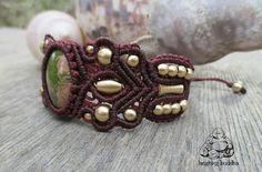 Unakite bracciale Bracciale macrame gioielli di LaughingBuddhaArt