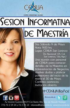 Sesión informativa para Maestría sábado 9 de Mayo 9 hrs CENUA San Lorenzo