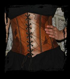 leather pirate corset closeup by Lagueuse