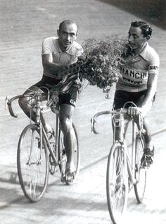 Fausto Coppi e Fiorenzo Magni al Giro d'Italia del 1955