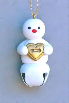 Snowman with bell - cute ornament