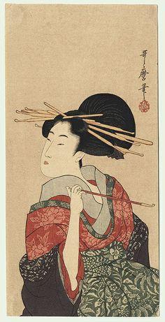 woman holding a pipe   utamaro 1750 - 1806