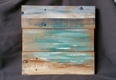 """Beach seascape Painting Pallet art, Personalized Gift, Distressed Wood Art seascape, BEACH, Hand painted, upcycled pallet, """"Just Breathe"""""""