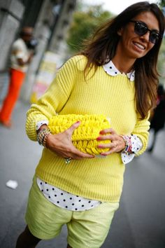 Yellow is such a hard color to pull off! Milan Fashion Week; Bright hues and playful textures.