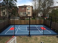 Small Courts - Sport Court Ontario Backyard Sports, Backyard Basketball, Backyard For Kids, Backyard Tennis Court, Backyard Ideas, Home Basketball Court, Basketball Hoop, Dream Mansion, Cedar Homes