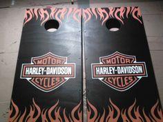 Hand Painted Harley Davidson Cornhole Boards