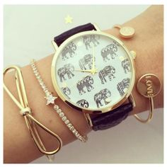 Cute Elephant watch – l u v v i 9 Super Moda, Cute Elephant, Telling Time, Cute Jewelry, Jewelry Branding, Fashion Watches, Bracelet Watch, Bling, Jewels
