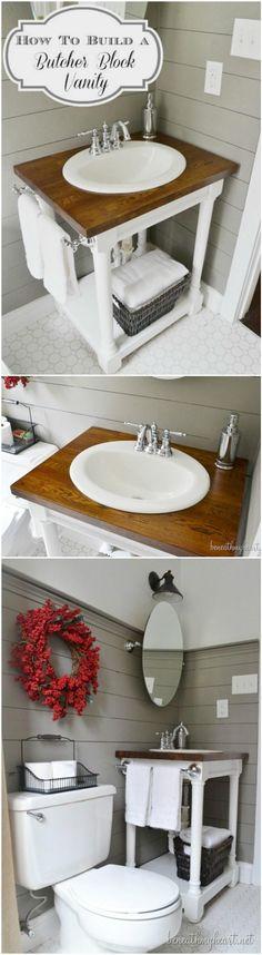 Handmade DIY Butcher Block Vanity - 50+ DIY Bathroom Projects to Remodel Step by Step