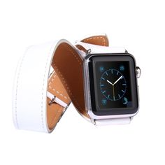 [USD14.47] [EUR13.79] [GBP10.90] Double Circle Style Metal Buckle Cowhide Leather Watchband with Connector for Apple Watch 42mm(White)