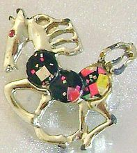 Whimsical Confetti Disc Horse Pony Vintage Brooch
