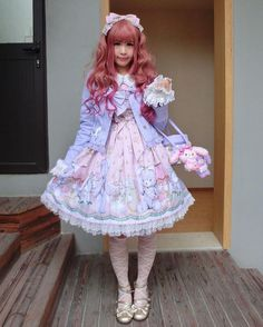 Today's outfit: Angelic Pretty - Charlotte's Bear #今日のコーデ #ootd #angelicpretty #sweetlolita | Lolita styles and ideas | Pinterest
