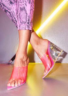 fc23616d44f Missyempire - Jackie Neon Pink Perspex Pointed Wedge Mules