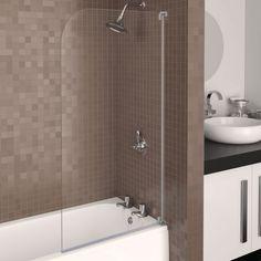 Aqualux AQUA 3 Half-Frame Radius Bath Screen, 750mm Wide, Grey Frame, Clear Glass