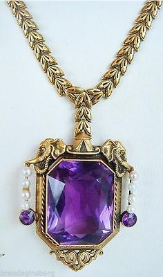 Antique Victorian Pendant Necklace Amethyst Pearl Elephant Fab Gold Chain 4273 | eBay