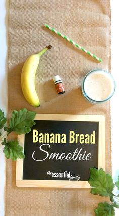 This banana bread smoothie recipe is the perfect start to your morning!  Simple whole food ingredients plus nutmeg essential oil for a delicious breakfast. via @essentialfamily