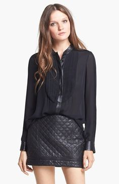 Haute Hippie Leather Trim Silk Chiffon Blouse | Nordstrom quilted leather skirt