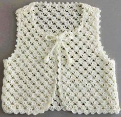 Stricken Anleitung :Crochet vest for your children Crochet Girls, Crochet Baby Clothes, Crochet Lace, Crochet Summer, Crochet Flower, Crochet Jacket Pattern, Diy Kleidung, Knit Baby Sweaters, Baby Knitting Patterns