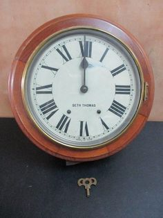 ANTIQUE SETH THOMAS WALL CLOCK ROUND 8 DAYS SOLID OAK SETH THOMAS CLOCK NO RESERVE THIS IS FOR AN ANTIQUE SETH THOMAS WALL CLOCK ROUND 8 DAYS SOLID OAK SETH THOMAS CLOCK. MEASURES 17  ROUND. COMES WIT