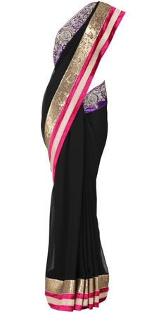 Black sari with purple and fuchsia embellished velvet and gold sequin border - Varun Bahl