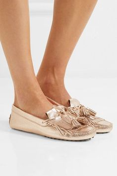 Tod's - Fringed Metallic Textured-leather Loafers - Gold