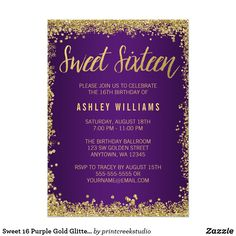 Sweet 16 Purple Gold Glitter Birthday CardModern purple and gold faux glitter sweet 16 invitations. These trendy sweet sixteen invites are easy to personalize for your party. Designs are flat printed illustrations/graphics - NOT ACTUAL GOLD GLITTER.