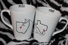 Long distance BFF coffee mugs. I might just have to do this! Perfect for when i leave for college.